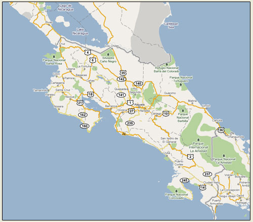 Google Map Costa Rica